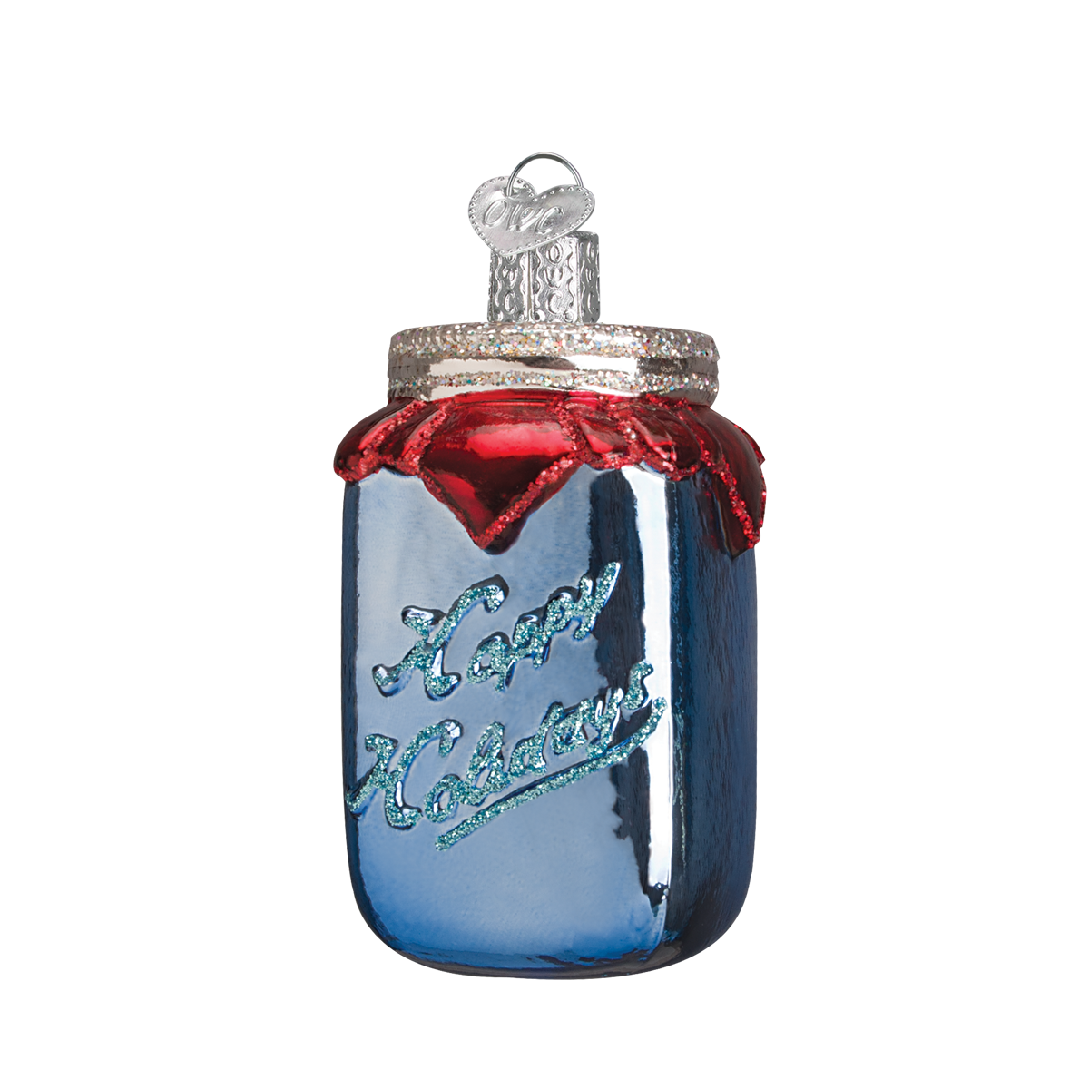 Old Word Christmas Canning Jar Glass Ornament | Putti Christmas