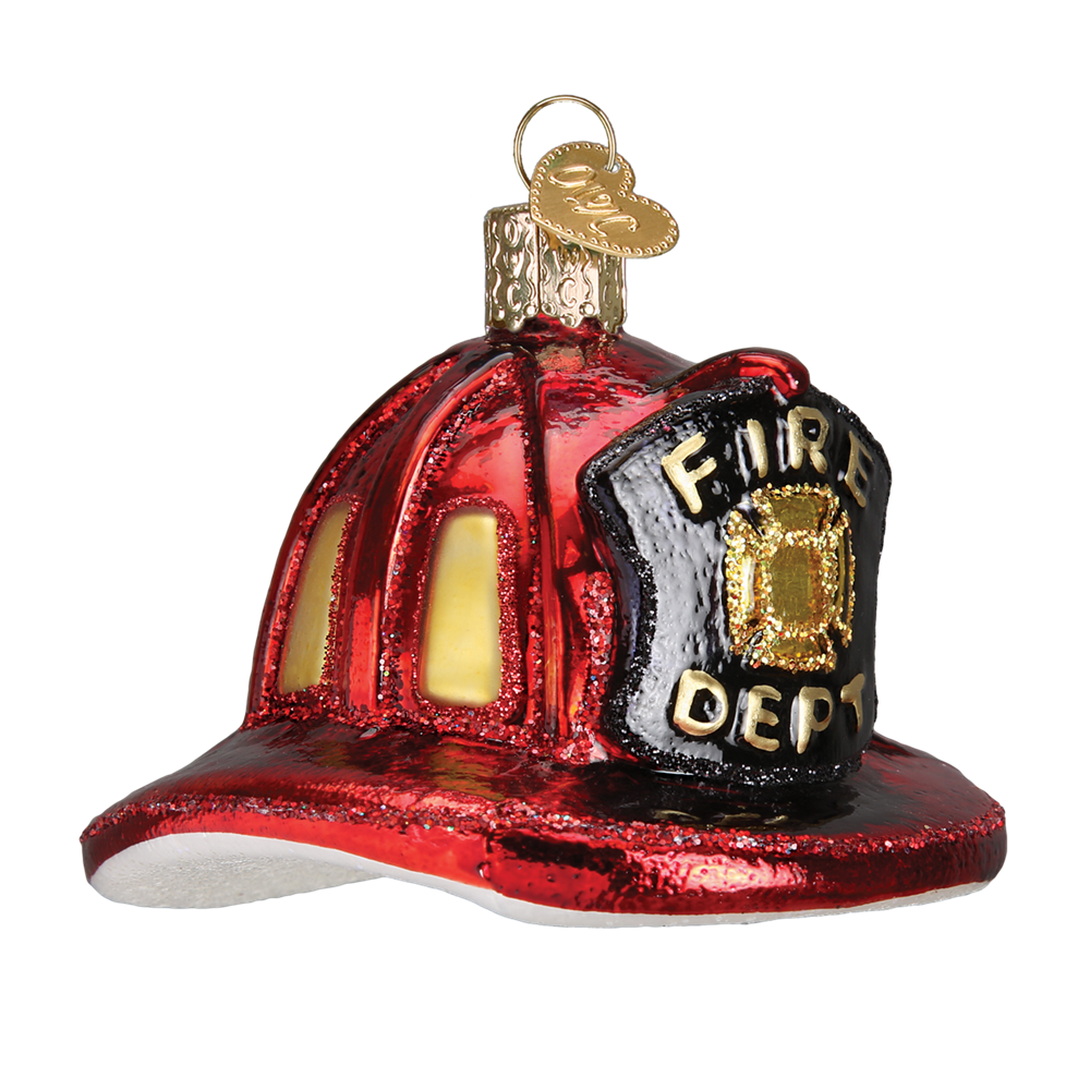 Old World Christmas Fireman's Hat Glass Christmas Ornament, OWC-Old World Christmas, Putti Fine Furnishings