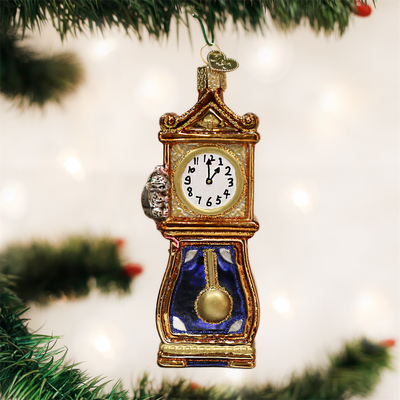 Hickory Dickory Dock Glass Christmas Ornament, OWC-Old World Christmas, Putti Fine Furnishings