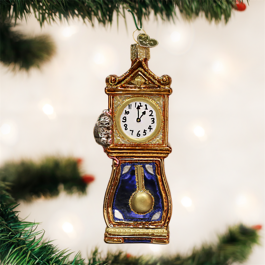 Hickory Dickory Dock Glass Christmas Ornament