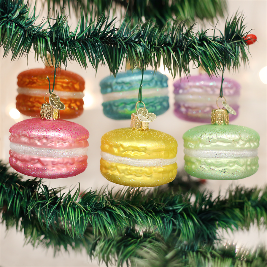 Old World Macaron Glass Ornament