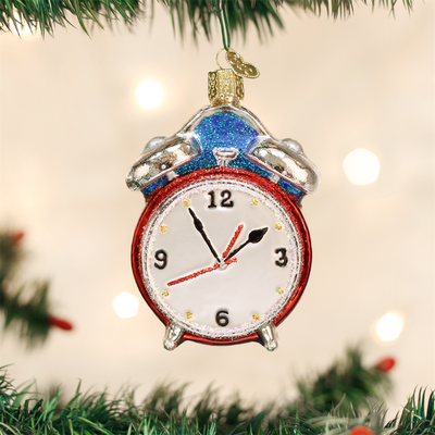 Old World Christmas Alarm Clock Glass Ornament, OWC-Old World Christmas, Putti Fine Furnishings