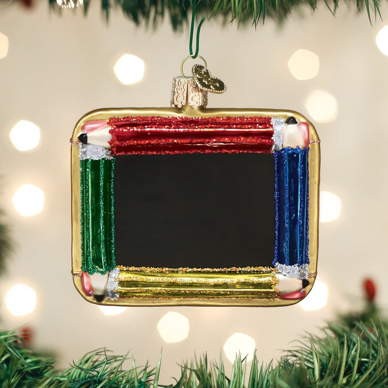 Old World Christmas Chalkboard Glass Christmas Ornament