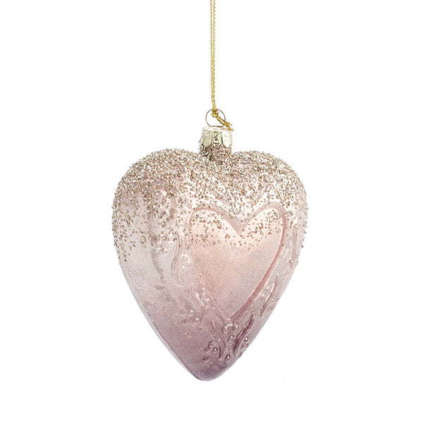 Pink Glass Heart Ornament, TPC-The Pine Center, Putti Fine Furnishings