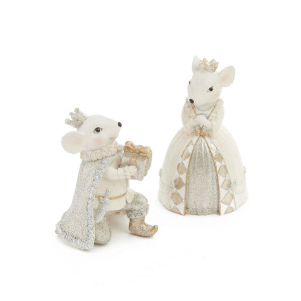Ivory and Gold Pair of Mice