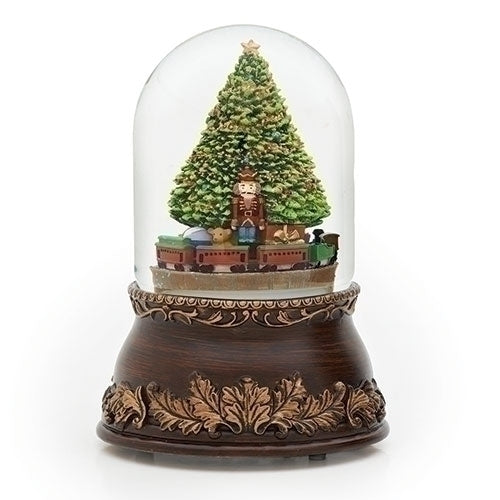 Christmas In Evergreen Snow Globe.Tree With Train Musical Rotating Snow Globe
