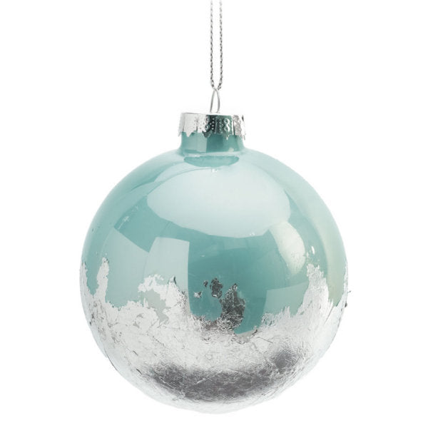 Light Blue and Silver Foil Glass Christmas Ornament