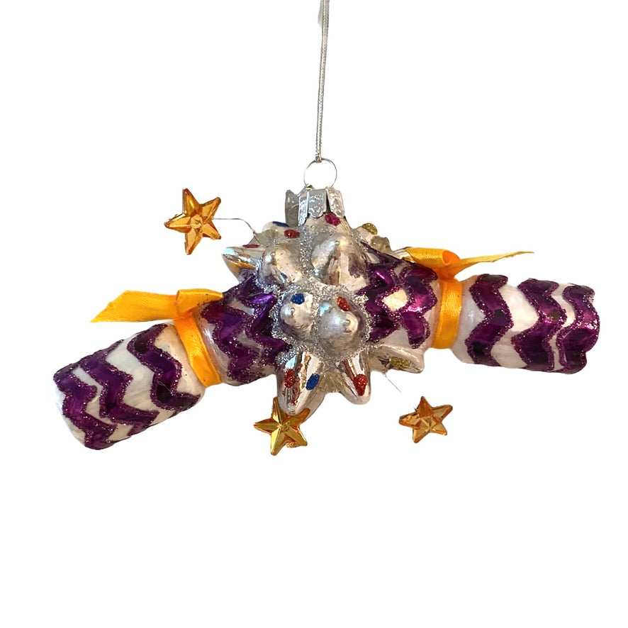 Kurt Adler Festive Cracker Glass Ornament Purple  Putti Christmas Canada
