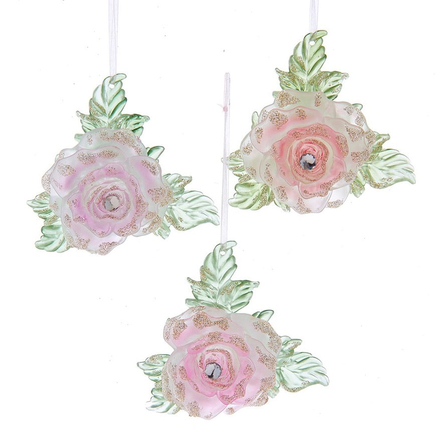 Kurt Adler Boho Chic Pink Rose Ornament