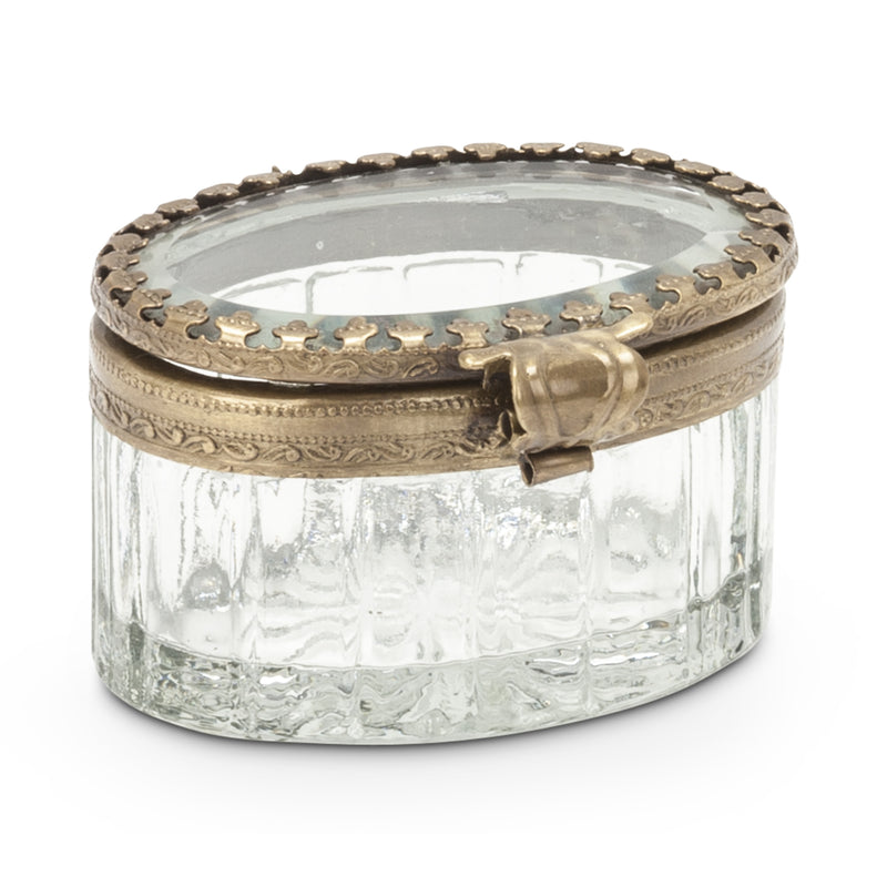 Small Oval Glass Brass Trinket Box, AC-Abbott Collection, Putti Fine Furnishings