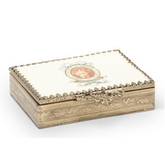 Low Rectangular Trinket Box with Enamelled Lid -  Vanity Accessories - Abbot Collection - Putti Fine Furnishings Toronto Canada