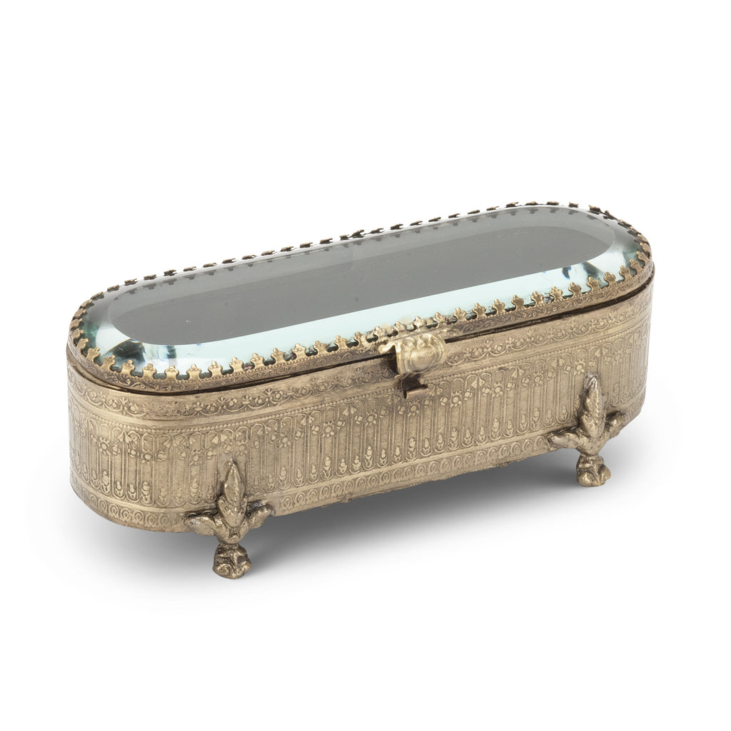 Large Oval Bevelled Glass Brass Triket Box -  Vanity Accessories - Abbot Collection - Putti Fine Furnishings Toronto Canada - 1