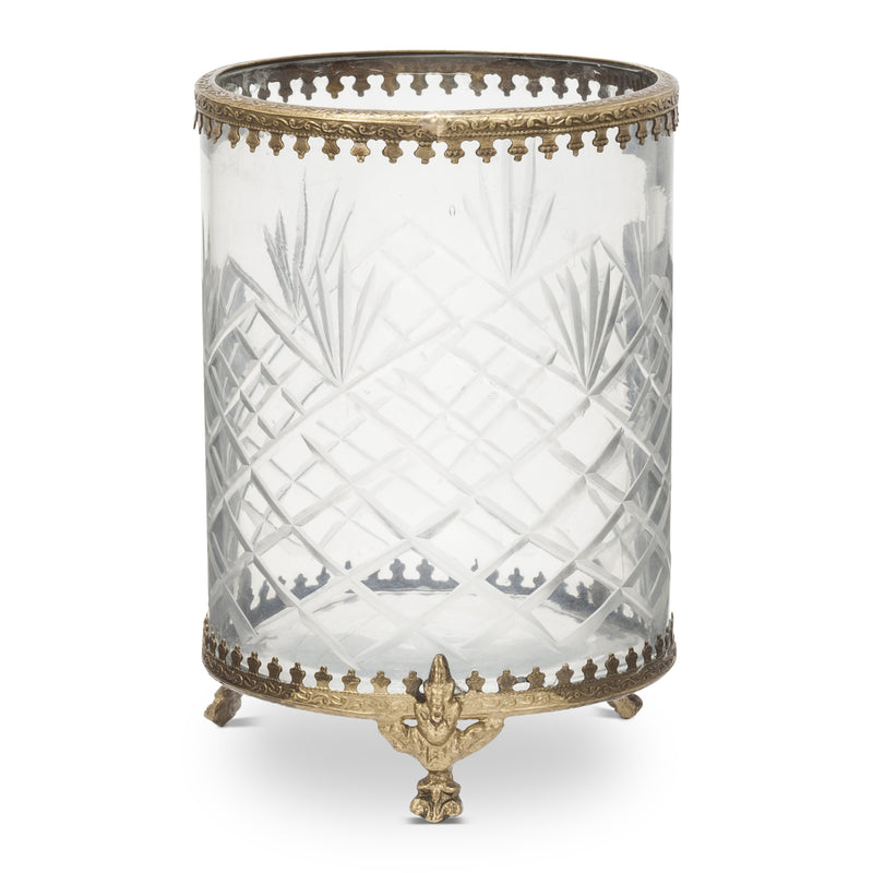 Cross Cut Glass Open Canister, AC-Abbott Collection, Putti Fine Furnishings