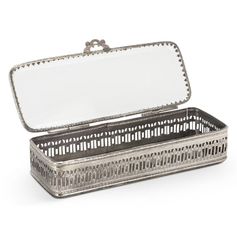 Low Rectangular Cut out Silver Trinket Box -  Vanity Accessories - Abbot Collection - Putti Fine Furnishings Toronto Canada - 1