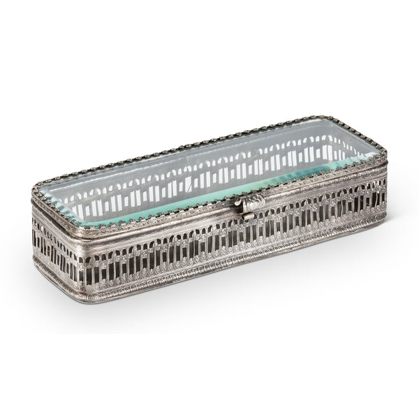 Low Rectangular Cut out Silver Trinket Box-Vanity Accessories-AC-Abbott Collection-Putti Fine Furnishings
