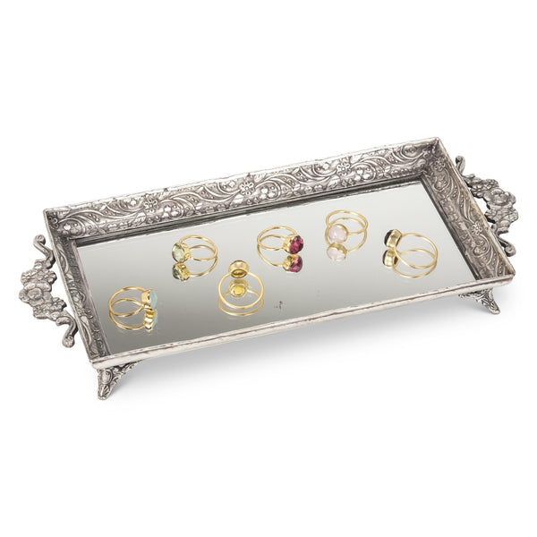Rectangular Footed Mirrored Tray -  Vanity Accessories - Abbot Collection - Putti Fine Furnishings Toronto Canada - 1