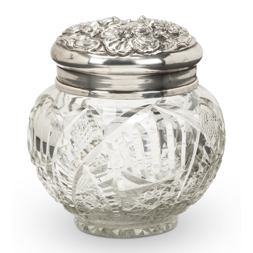 Round Cut Glass Trinket Box with Embossed Silver Lid -  Vanity Accessories - Abbot Collection - Putti Fine Furnishings Toronto Canada