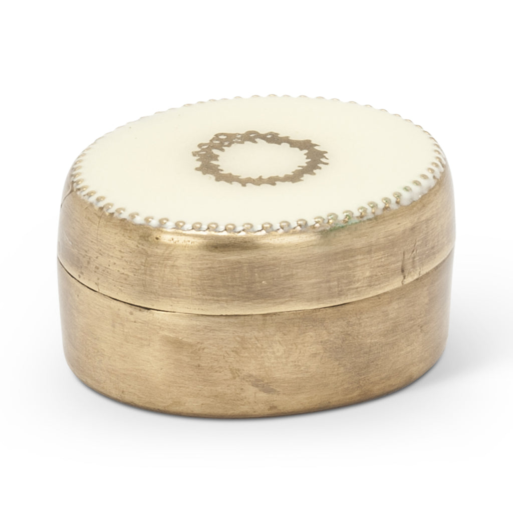 Brass Oval Pill Box with Wreath Inlaid Lid -  Vanity Accessories - Abbot Collection - Putti Fine Furnishings Toronto Canada - 1