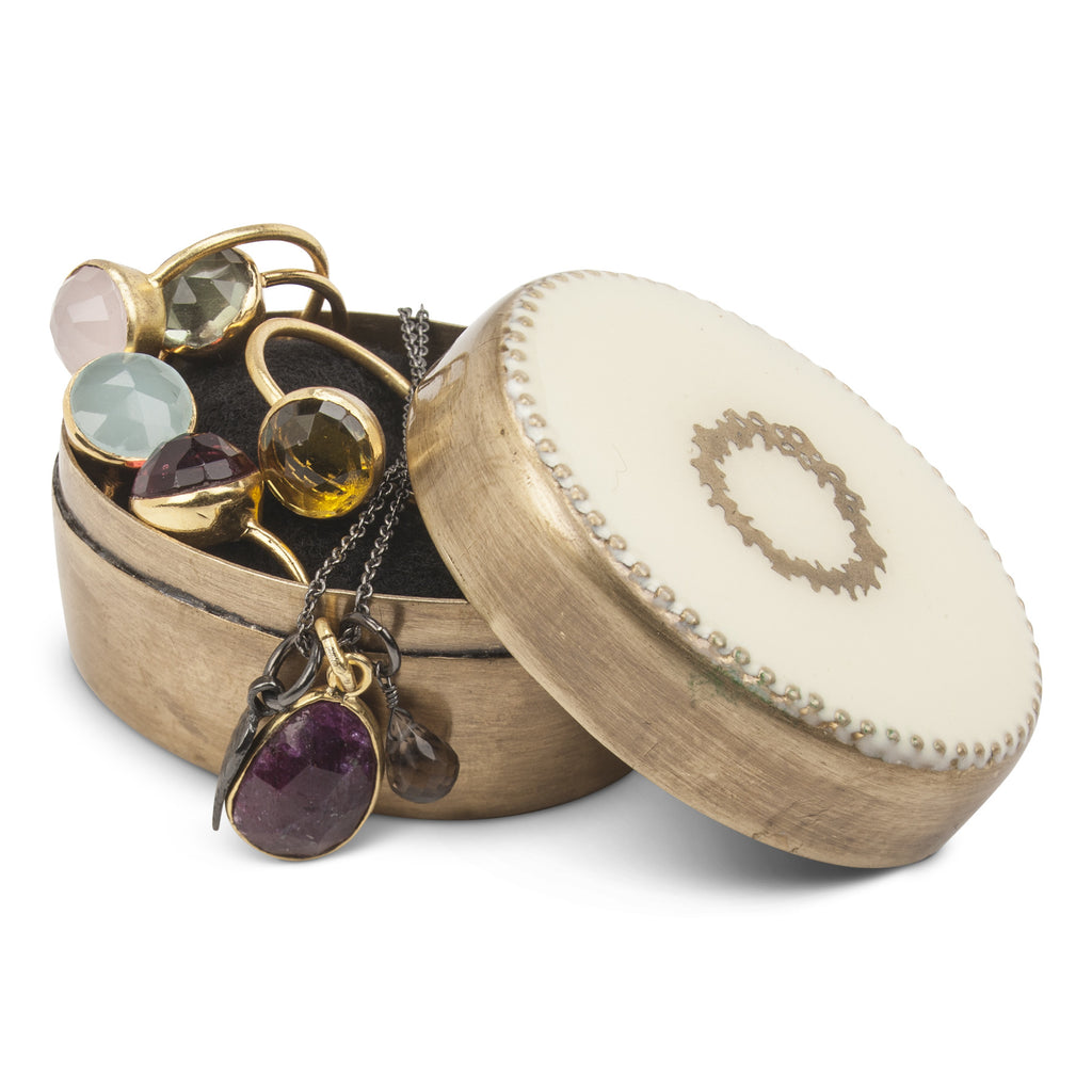 Brass Oval Pill Box with Wreath Inlaid Lid -  Vanity Accessories - Abbot Collection - Putti Fine Furnishings Toronto Canada - 3