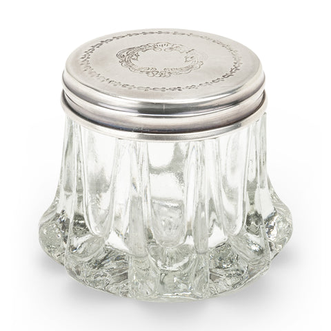 Sculpted Round Glass Trinket Box with Etched Silver Lid-Vanity Accessories-AC-Abbott Collection-Putti Fine Furnishings