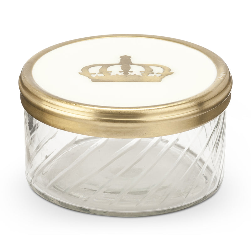Round Cut Glass Trinket Box with Ivory Inlaid Top, AC-Abbott Collection, Putti Fine Furnishings