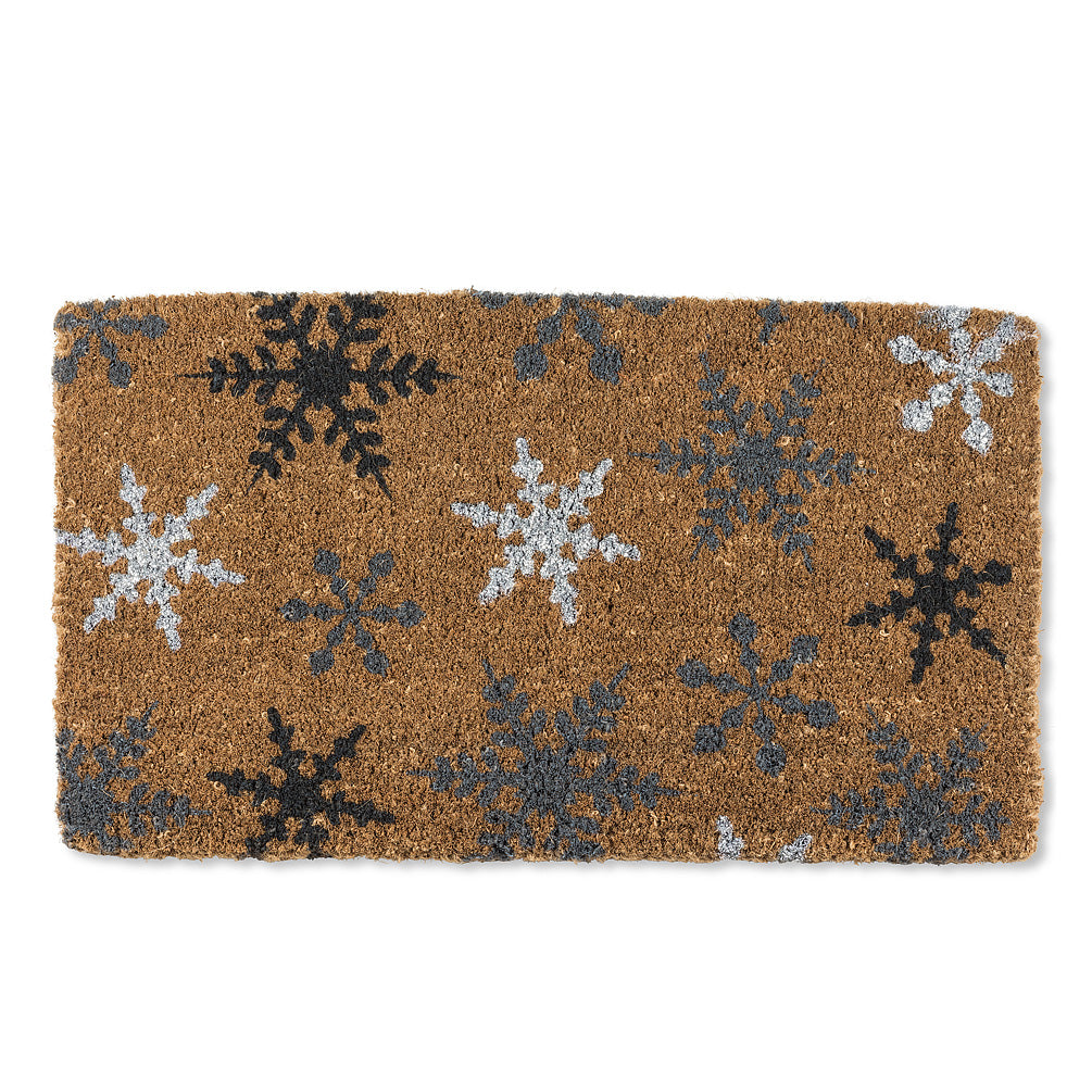 Snowflakes with Glitter Christmas Doormat