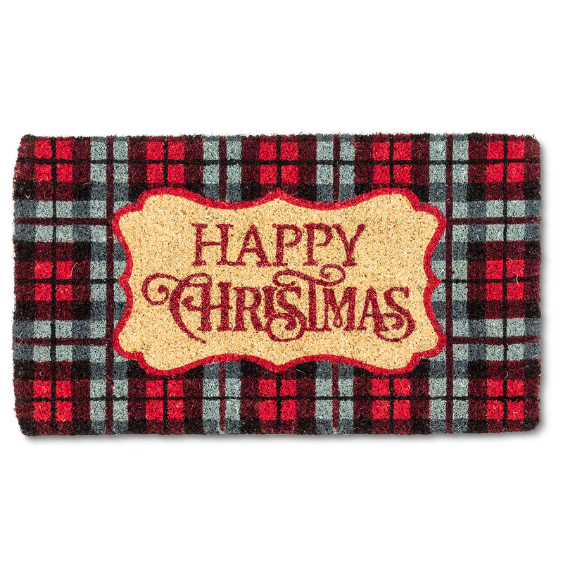 "Plaid ""Happy Christmas"" Doormat  