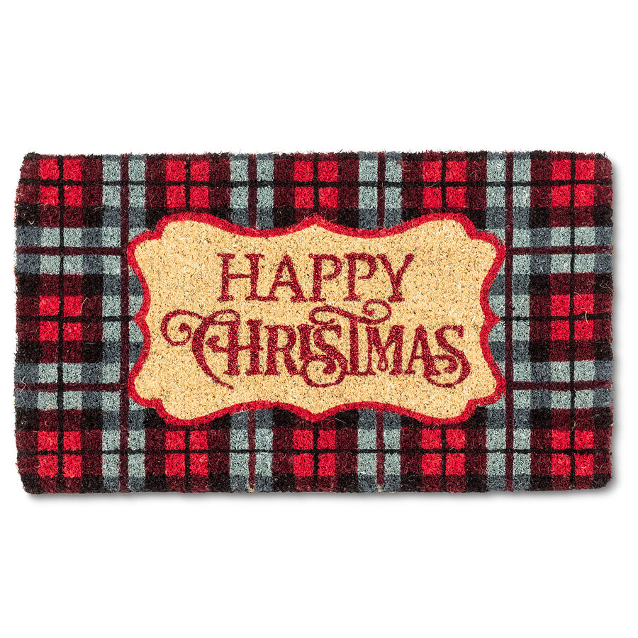 "Plaid ""Happy Christmas"" Doormat"
