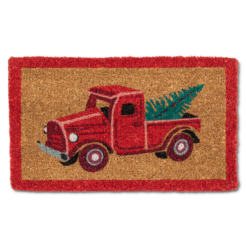 Red Truck with Tree Doormat  | Putti Christmas Door Mats Canada