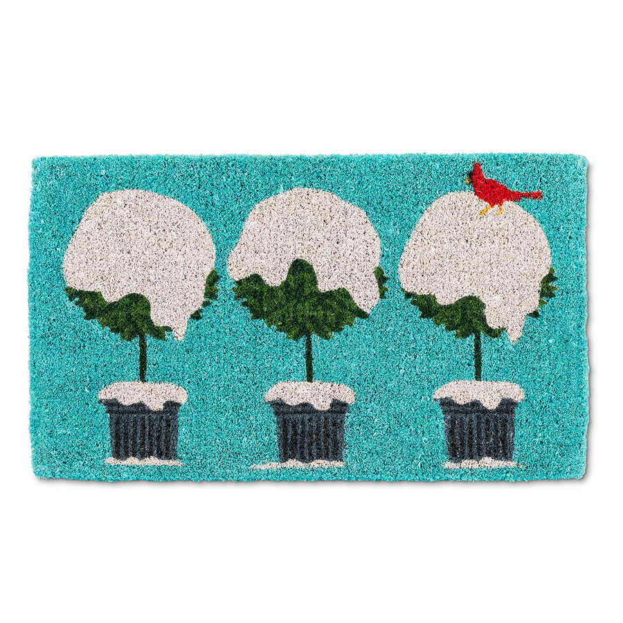 Snowy Topiary with Cardinal Doormat