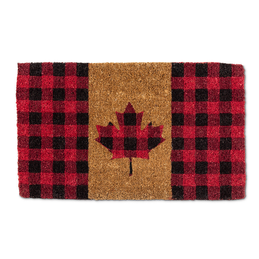 Buffalo Check Maple Leaf Doormat | Putti Fine Furnishings Canada