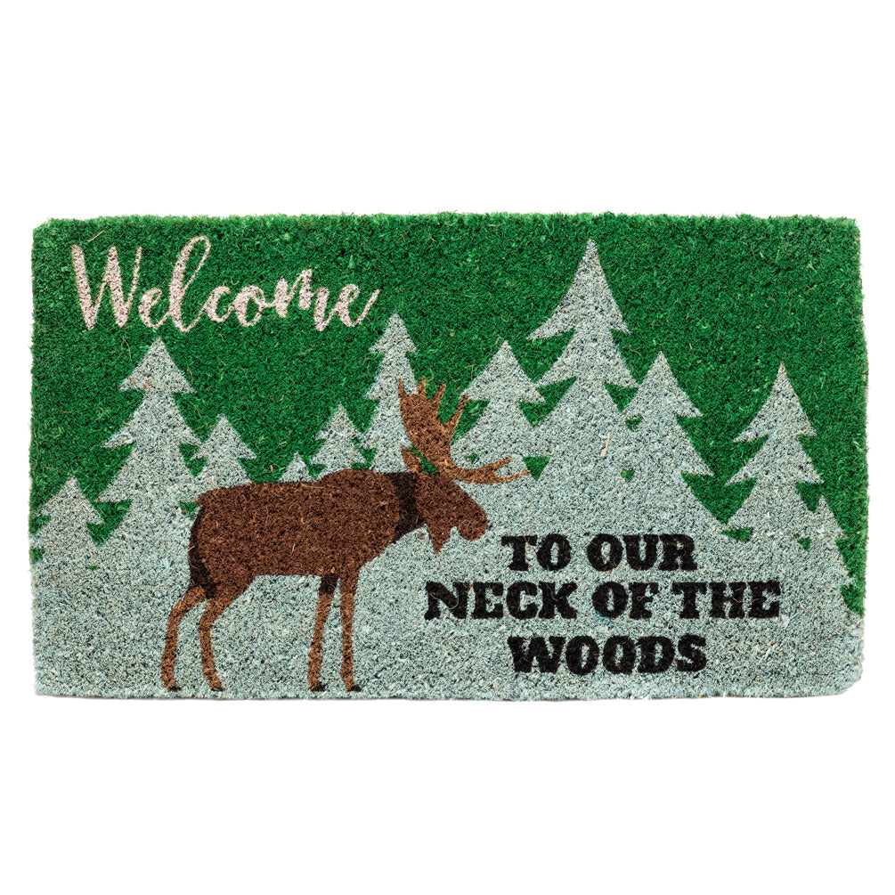 """Welcome  to our neck of the woods"" Doormat 