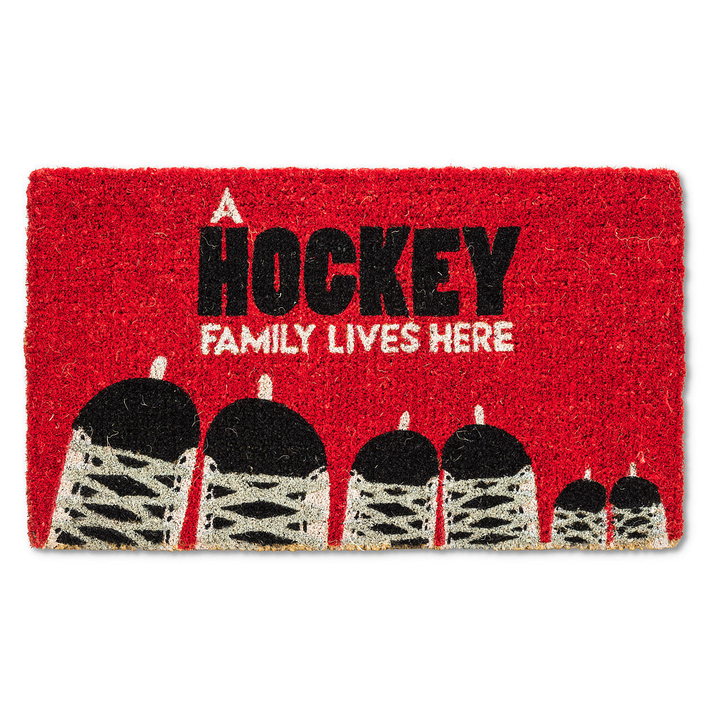 """A Hockey Family Lives Here"" Skate Doormat  