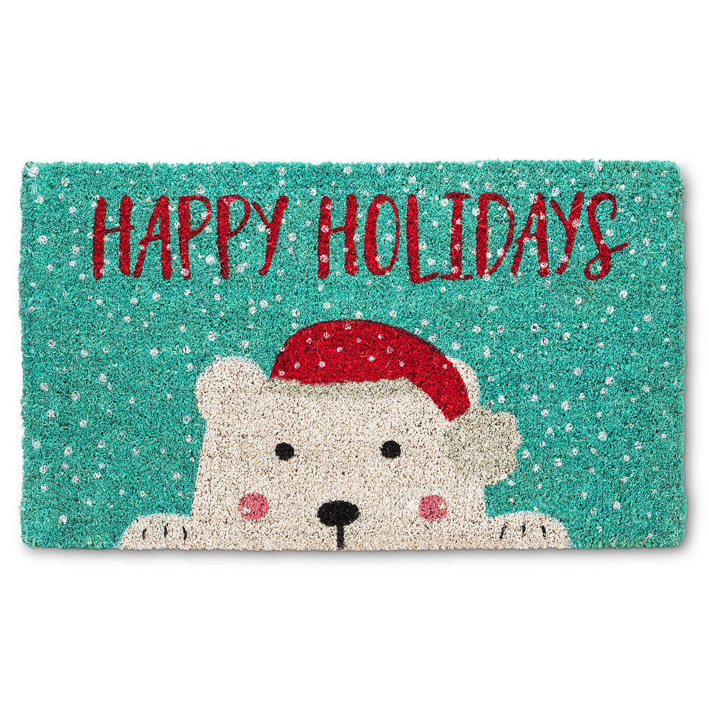 Peeking Holiday Polar Bear Doormat  | Putti Fine Furnishings Christmas Door Mats