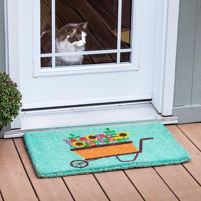 Flower Wheelbarrow Doormat