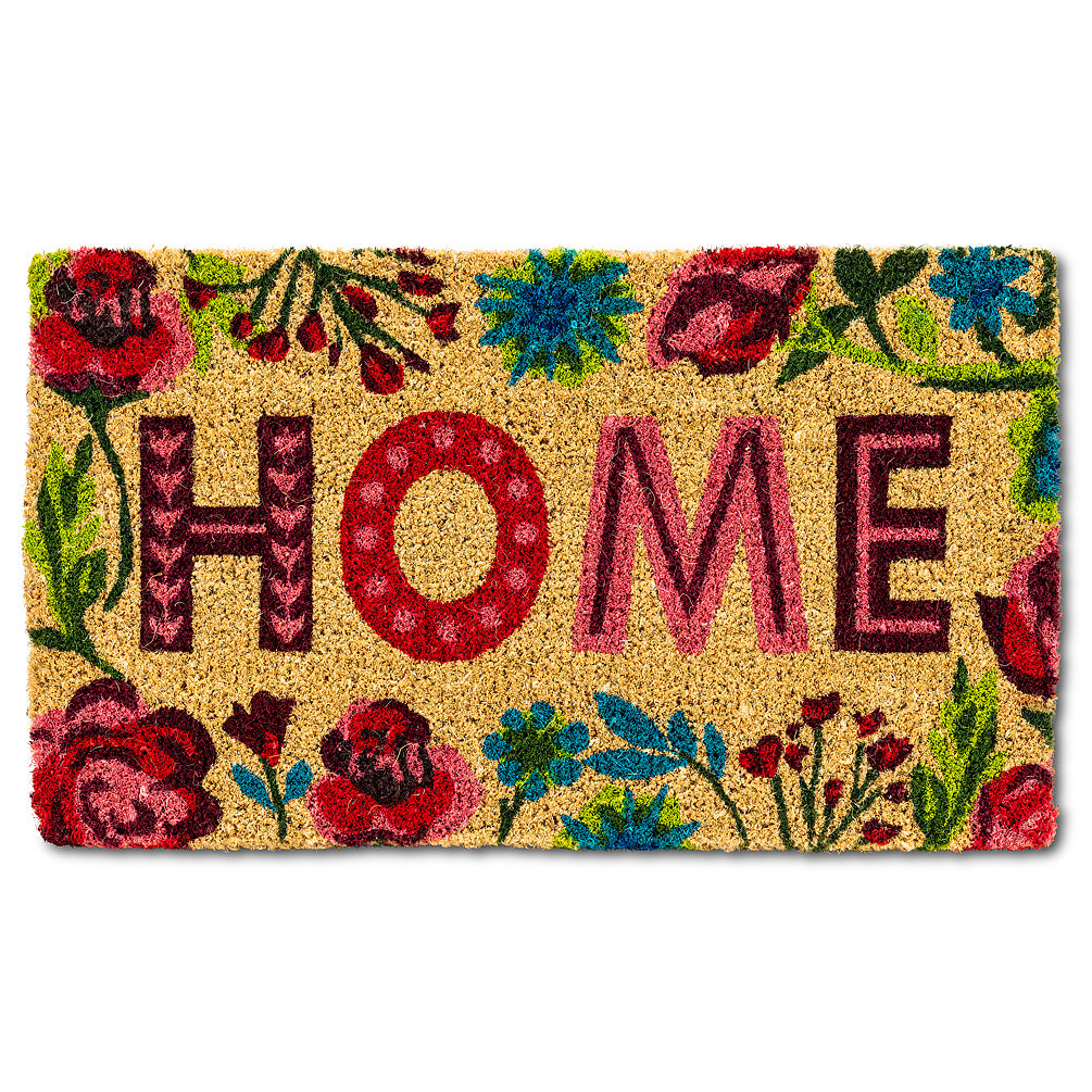 "Floral Border ""Home"" Doormat  