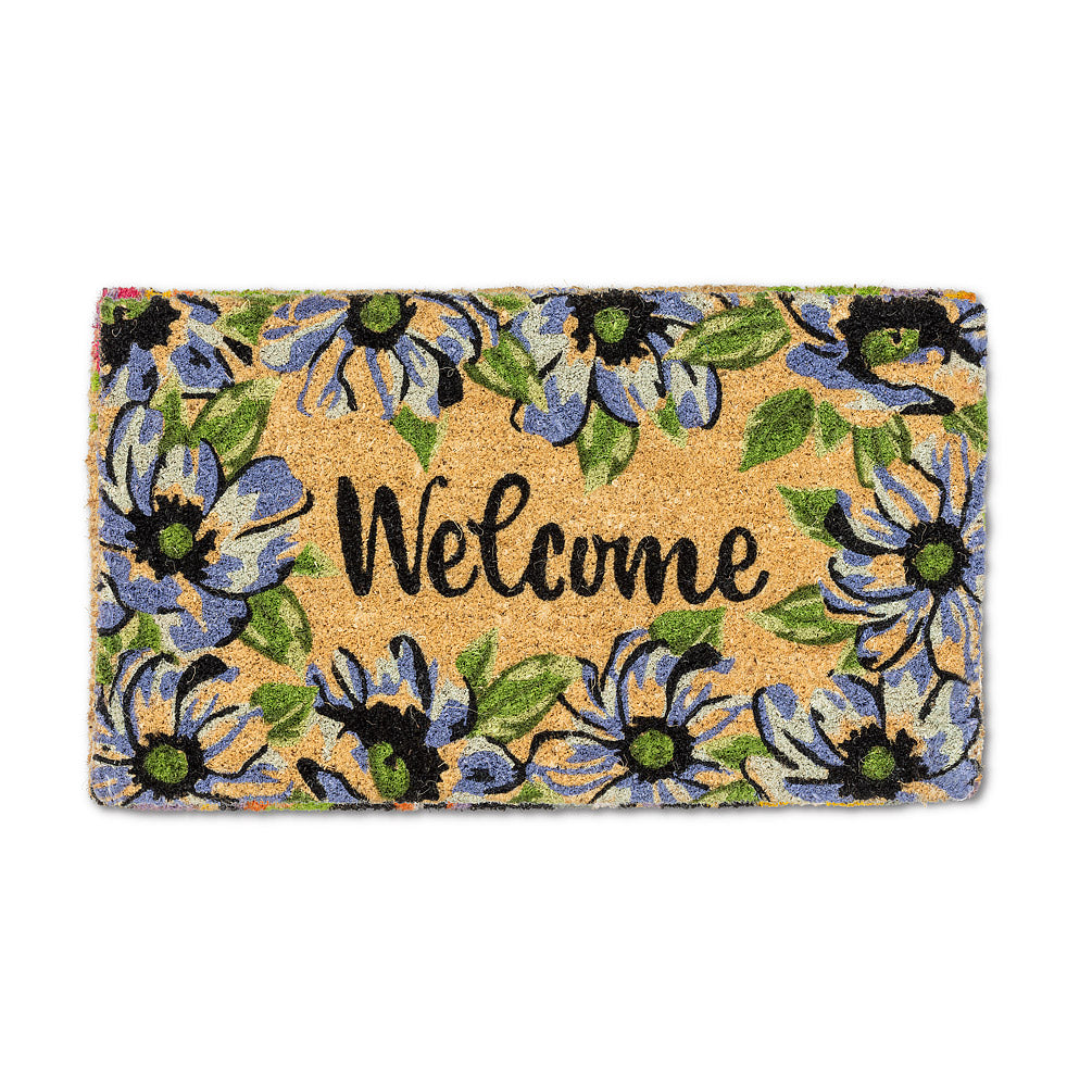 """Welcome"" Blue Floral Doormat  