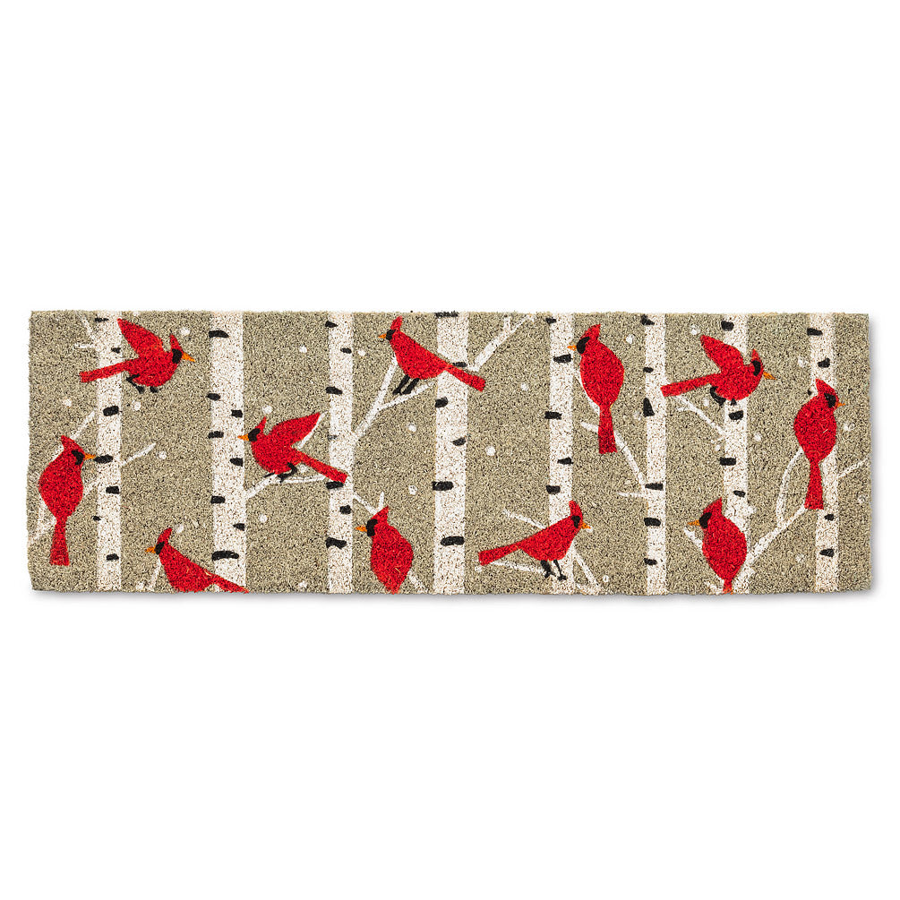 Cardinals & Birch Balcony Doormat | Putti Christmas Door Mats Canada