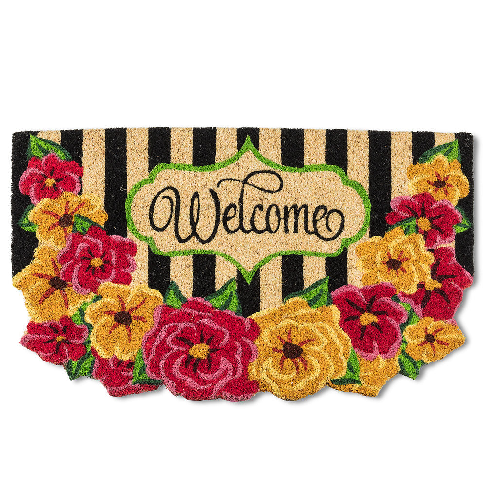 Floral & Stripe Welcome Doormat