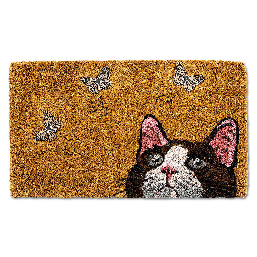 Cat with Butterflies Doormat | Putti Fine Furnishings Canada