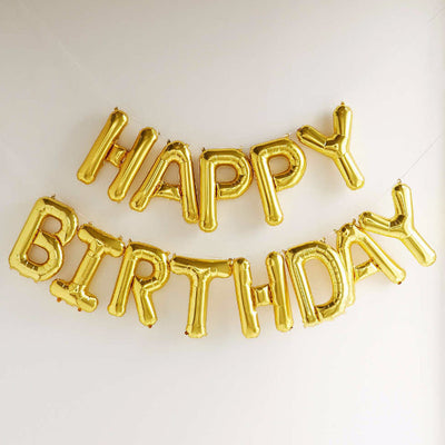 """Happy Birthday"" Balloon Banner - Gold Foil, SE-Surprize Enterprize, Putti Fine Furnishings"