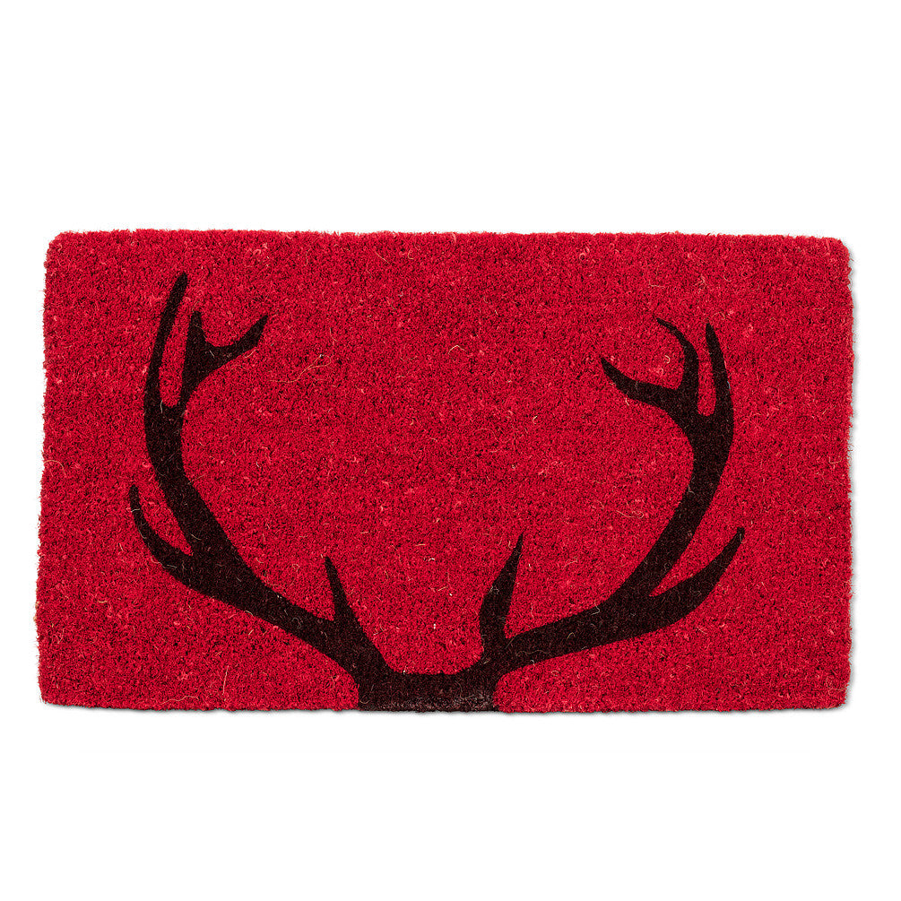 """Deer Antler"" Red Doormat-Christmas-AC-Abbott Collection-Putti Fine Furnishings"