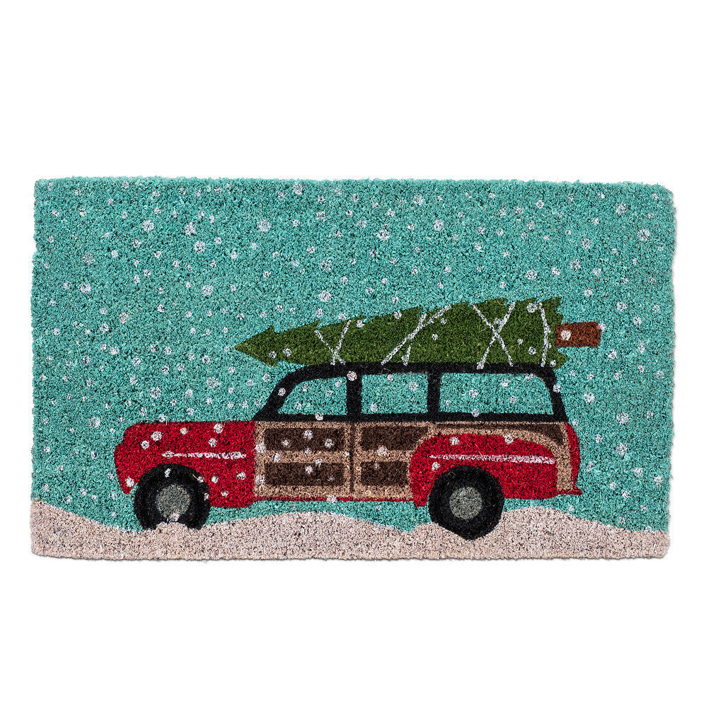"""Car with Tree"" Christmas Doormat-Christmas-AC-Abbott Collection-Putti Fine Furnishings"