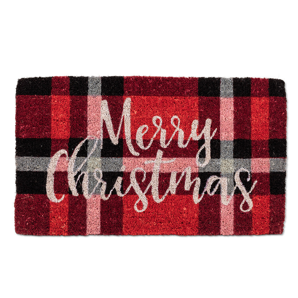 """Merry Christmas"" Plaid Doormat-Christmas-AC-Abbott Collection-Putti Fine Furnishings"