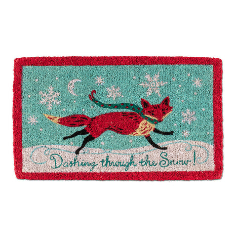 """Dashing Thru the Snow"" Fox Christmas Doormat"