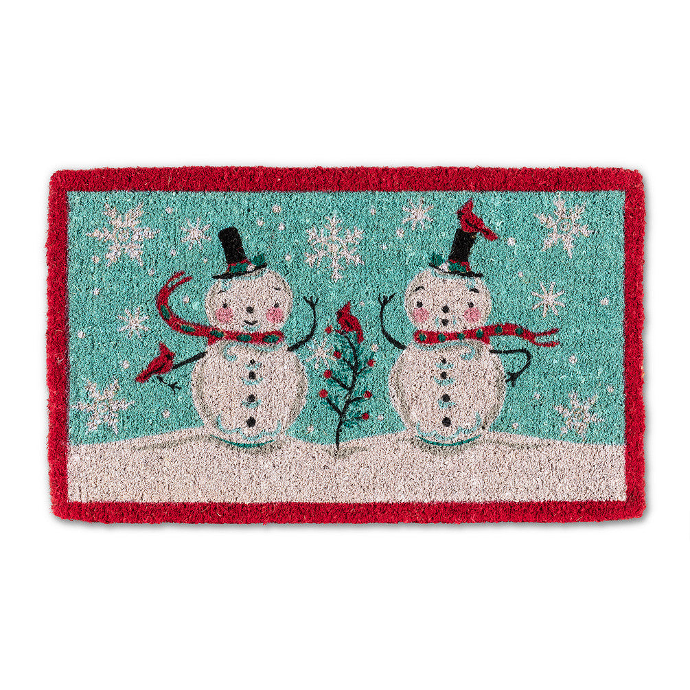"""Snowman Couple"" Christmas Doormat-Christmas-AC-Abbott Collection-Putti Fine Furnishings"
