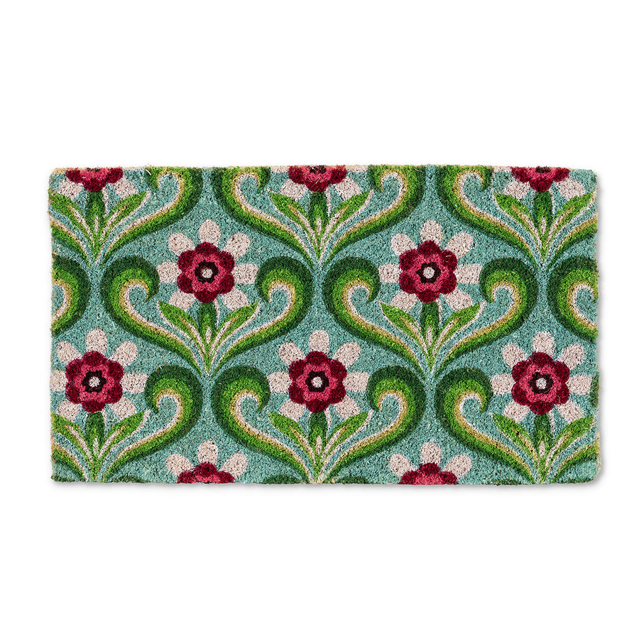 Green and Pink Floral Doormat