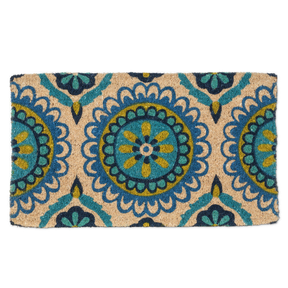 Blue Tile Print Doormat-Carpets and Rugs-AC-Abbott Collection-Putti Fine Furnishings
