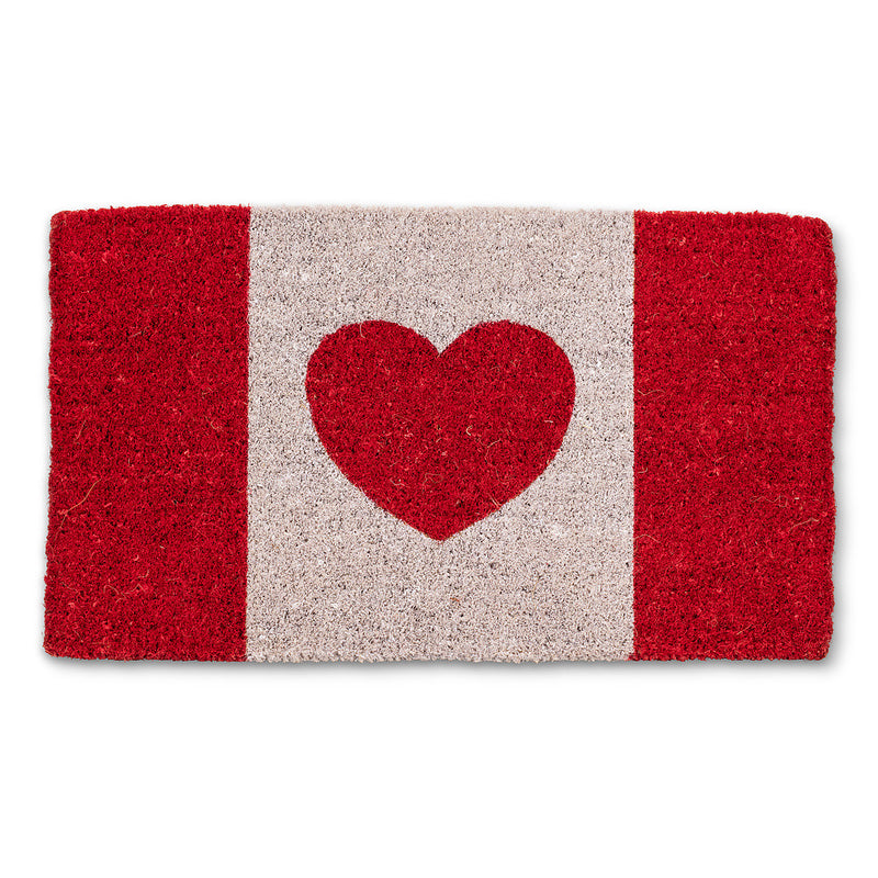 Canadian Flag with Heart Doormat, AC-Abbott Collection, Putti Fine Furnishings