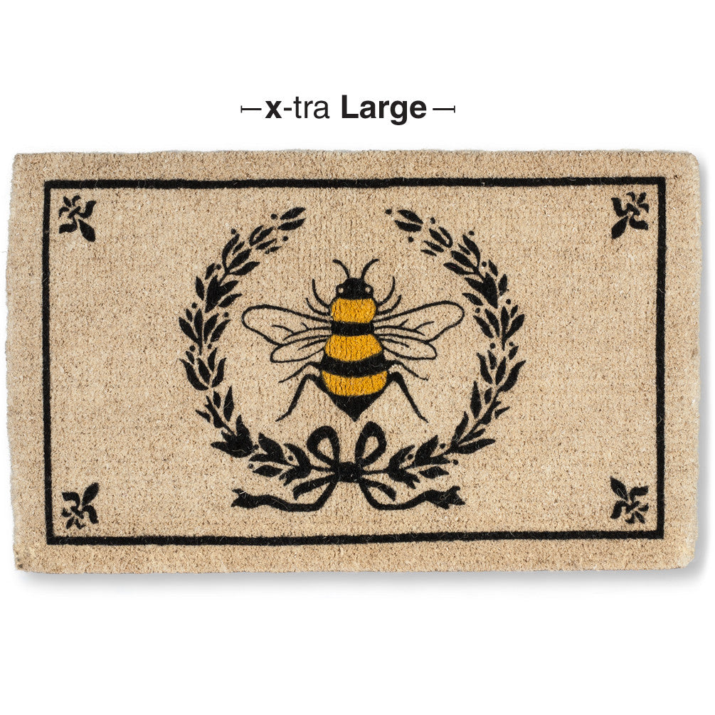 Bee in Crest Doormat - Extra Large, AC-Abbott Collection, Putti Fine Furnishings
